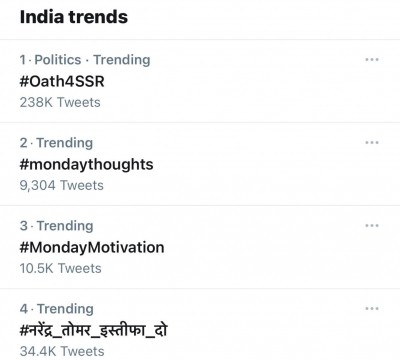 #Oath4SSR becomes buzzword on Twitter