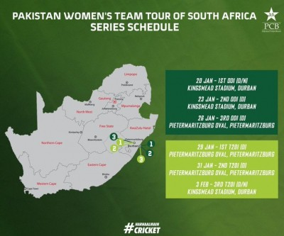 Pak women to play 3 ODIs, 3 T20Is in South Africa next month