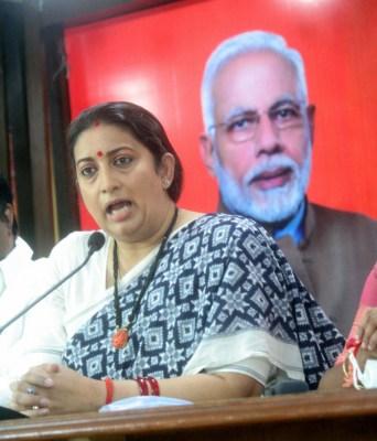 Smriti Irani slams Rahul, Sonia, asks if they are farmers?