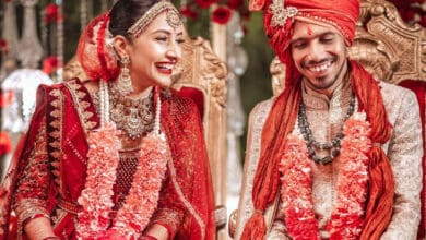 Royal in red: Pictures from Yuzvendra Chahal and YouTuber Dhanashree's wedding