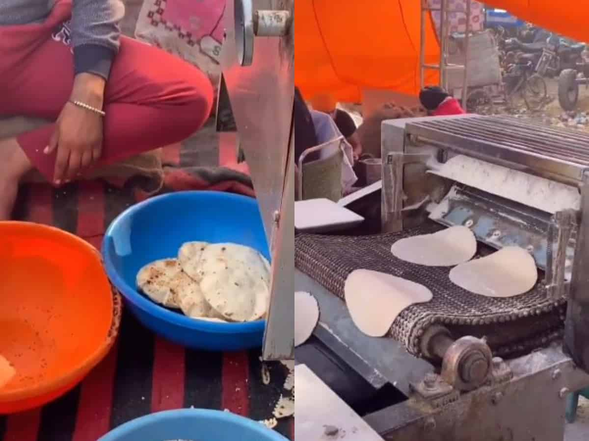Watch: Farmers install automatic roti machine at protest site