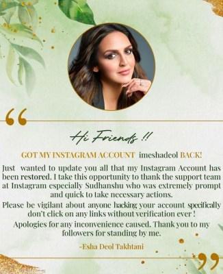 Esha Deol's Instagram account restored