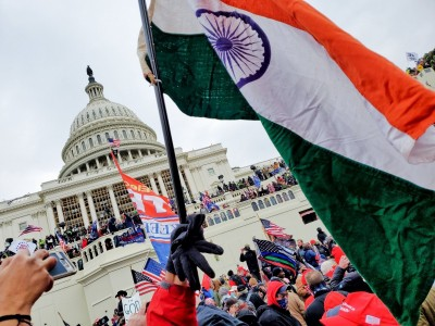 Indian flag seen at pro-Trump rally which some Indian-Americans joined