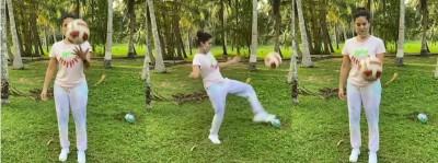 Sunny Leone shows her football skills