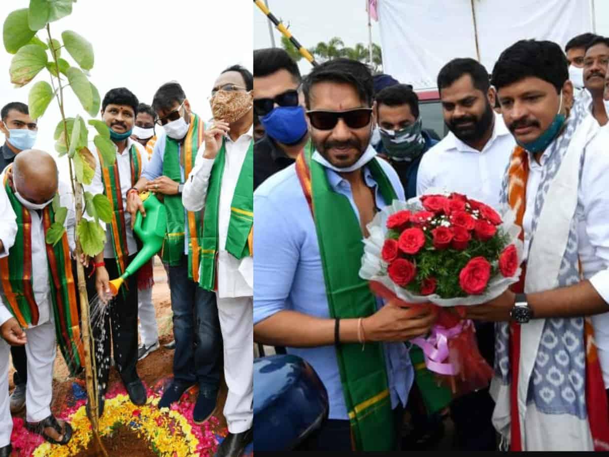 Ajay Devgn participates in Green India Challenge near Ramoji Film City