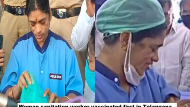 Sanitation worker Kistamma receives first jab of COVID-19 vaccine in Telangana