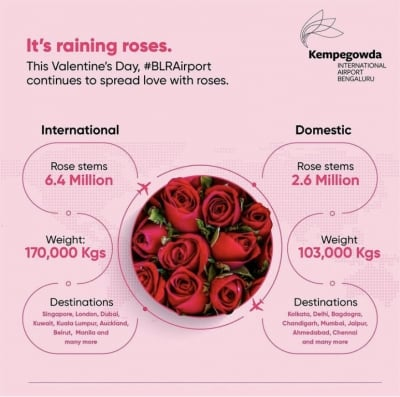90L roses flown from B'luru airport for V-Day