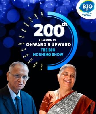NR Narayana Murthy, Sudha Murthy guest speakers on BIG FM 'Onward & Upward - The BIG Morning Show' 200th episode