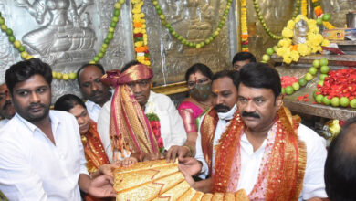 2.5 kg gold saree offered to goddess on KCR's birthday