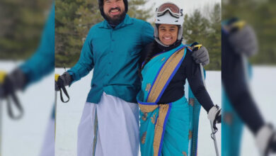Viral Video: Desi couple skiing in 'dhoti and saree' in US wins internet