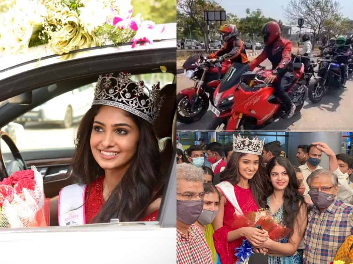 WATCH: Hyderabadi bikers' rally welcomes Miss India World 2020 Manasa Varanasi