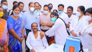 Health minister Eatala Rajender takes first dose of COVID-19 vaccine