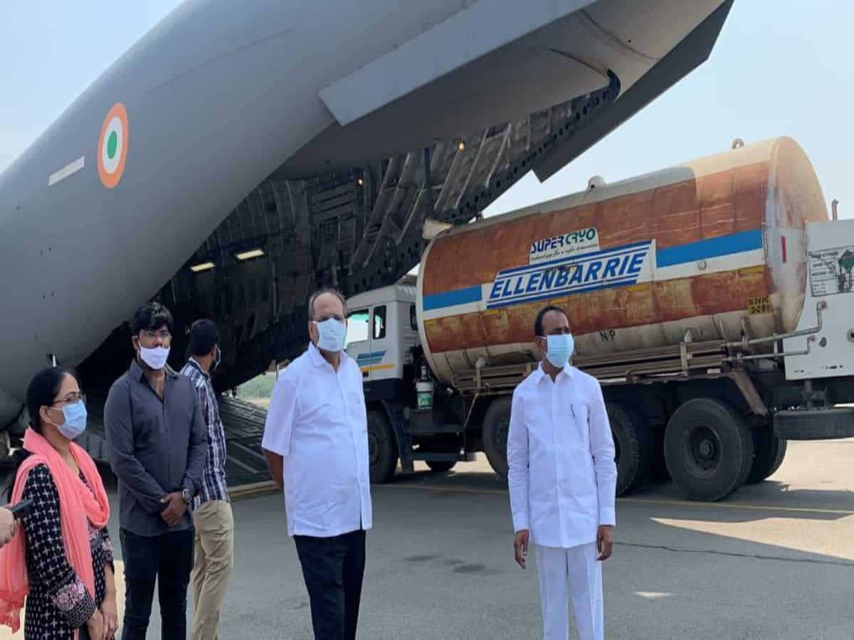 Telangana govt uses army aircraft to airlift oxygen tankers to Odisha
