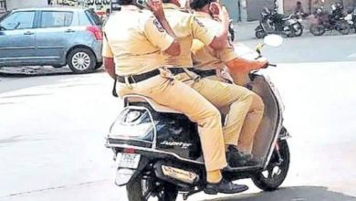 Khammam: Three women constables fined for triple riding, without helmet, talking on phone