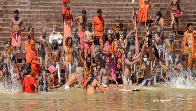 At 'symbolic' Kumbh Mela, at least 25K people gather on last holy dip