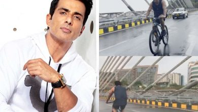Sonu Sood spotted on Durgam Cheruvu on cloudy morning; bicycles his way to 'Acharya' sets