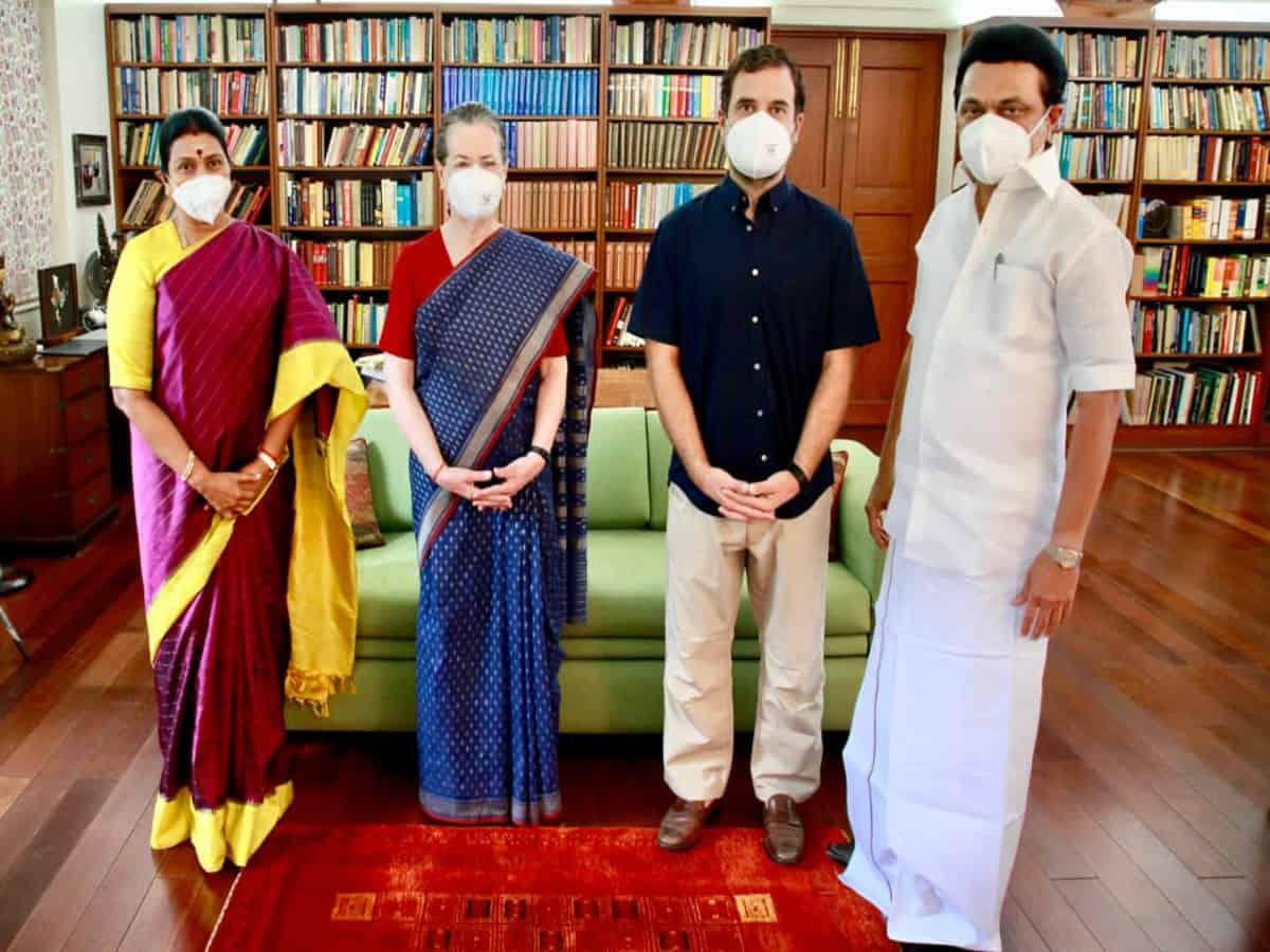 DMK chief MK Stalin meets Sonia Gandhi, Rahul