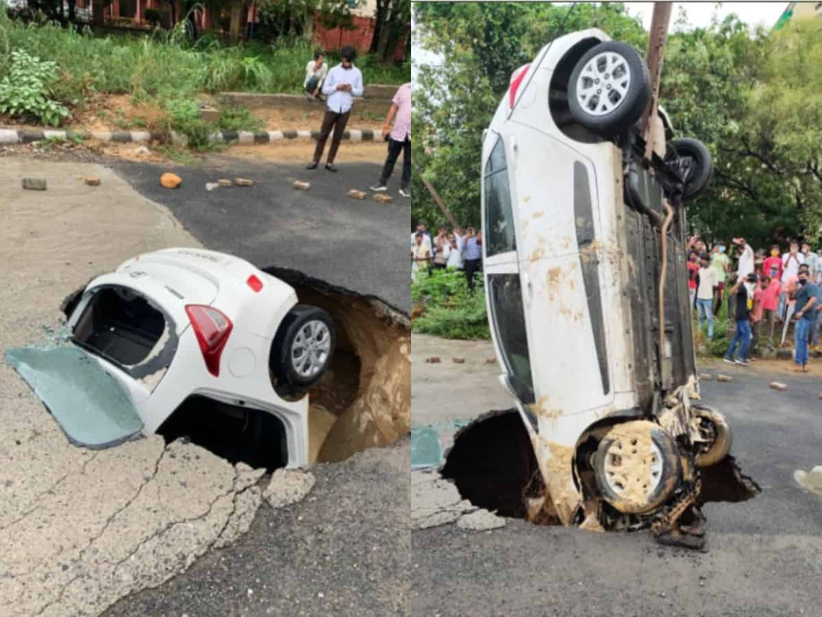 Viral photo: Constable's car stuck inside caved road in Delhi