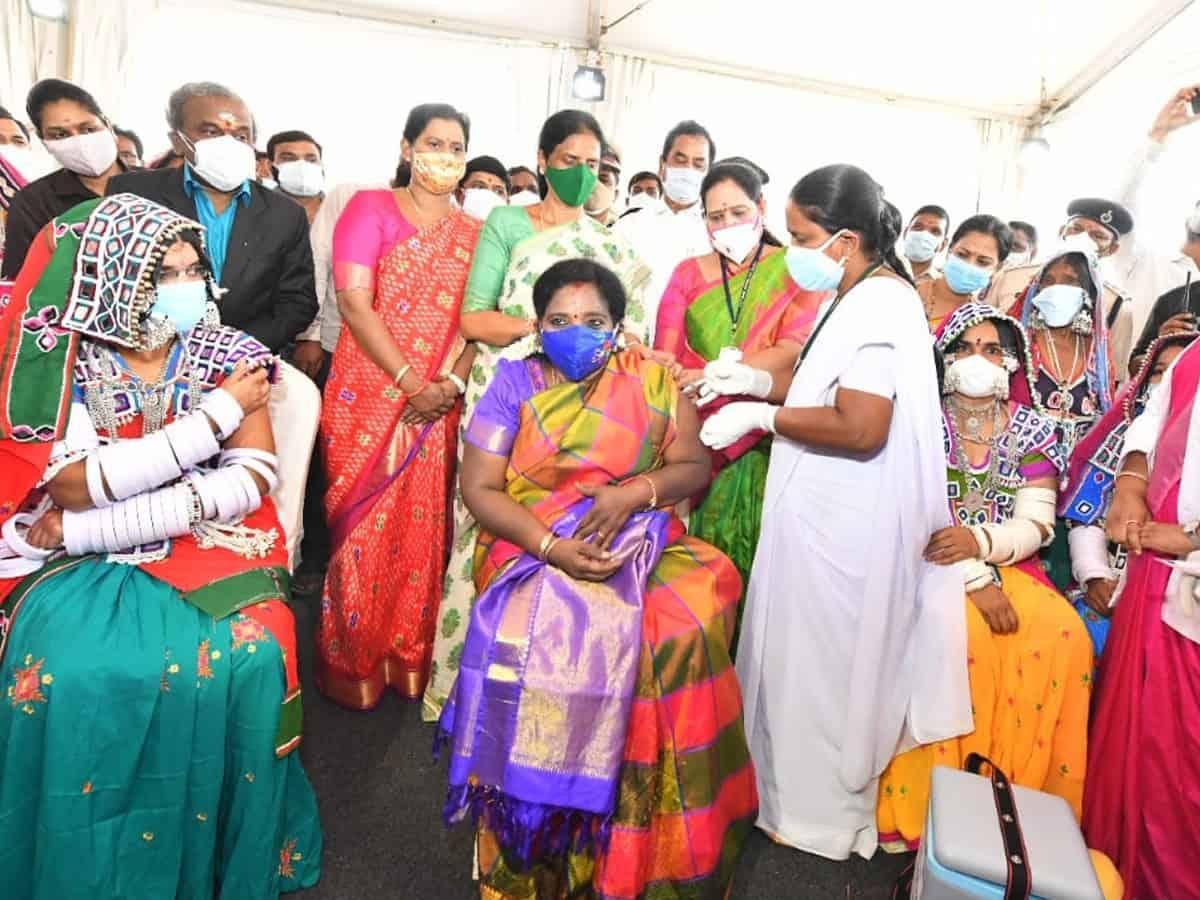 Telangana Governor takes COVID-19 vaccine among tribals