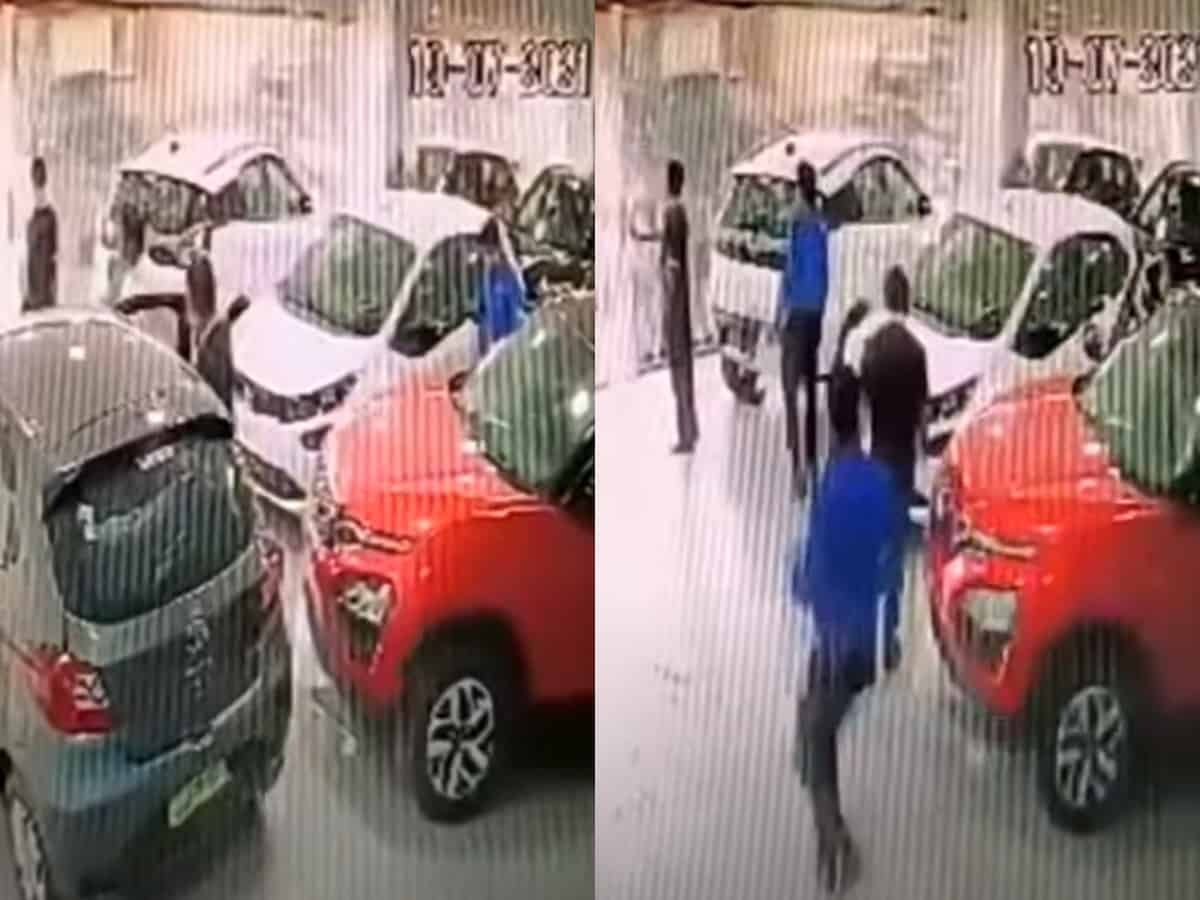 Mishap at showroom as new car to be delivered falls from first floor; two injured