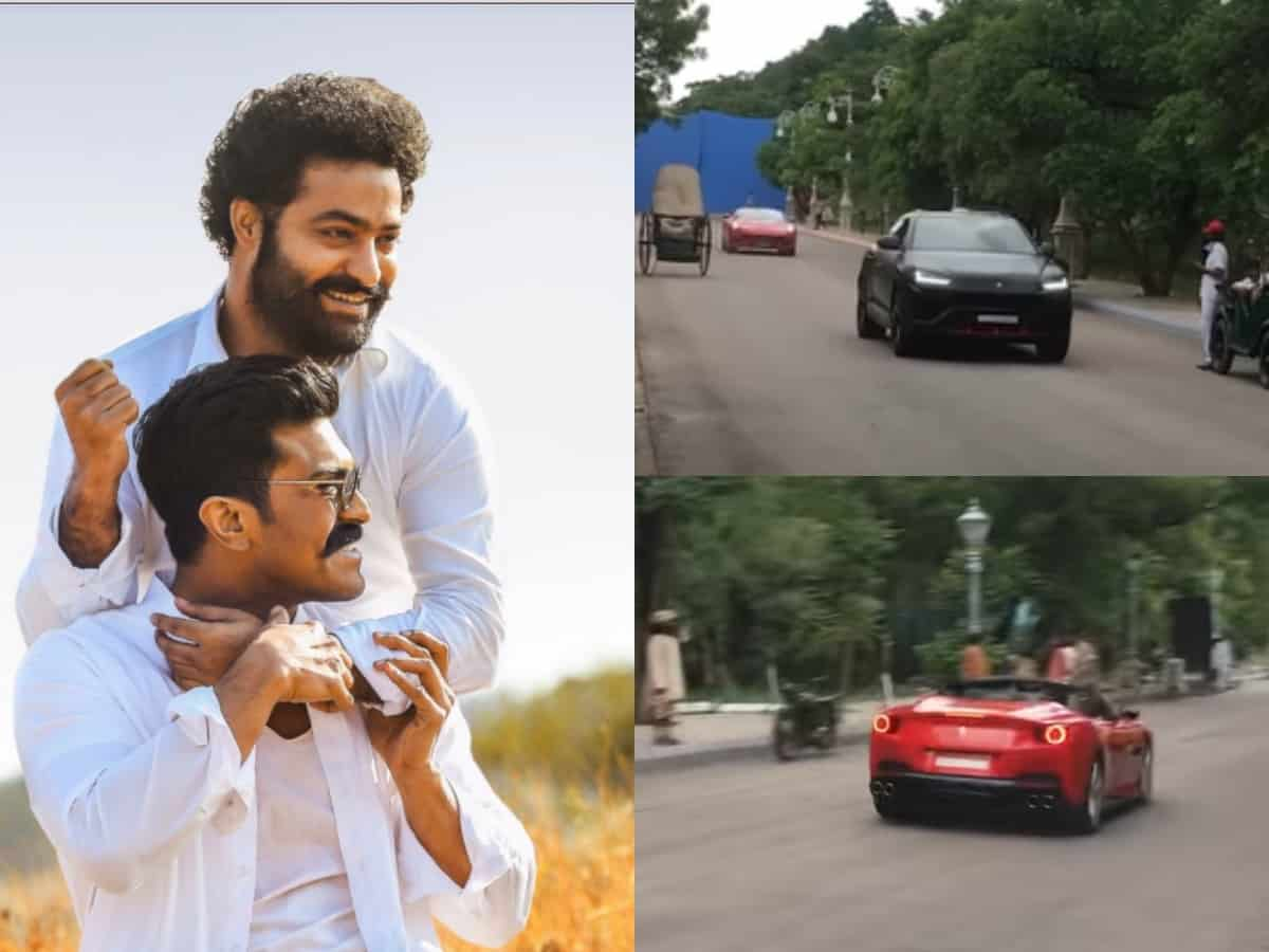 Jr NTR, Ram Charan spotted racing in their luxury cars in Hyderabad [Video]